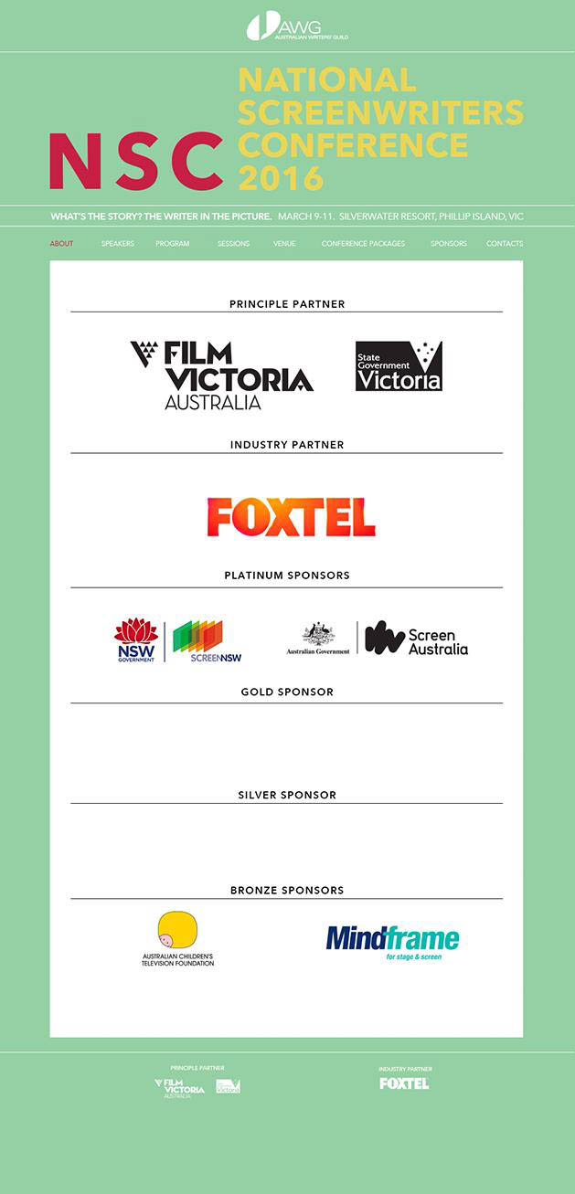Australian Writers Guild - Conference website and print material by Code and Visual - mobile screenshot 1