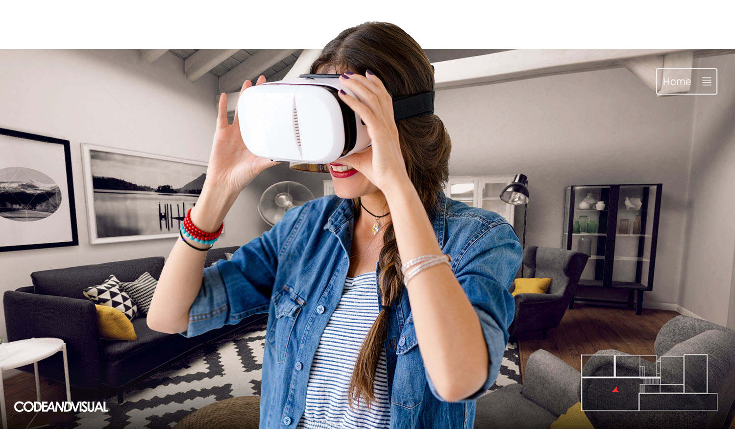 Happy hipster use VR glasses