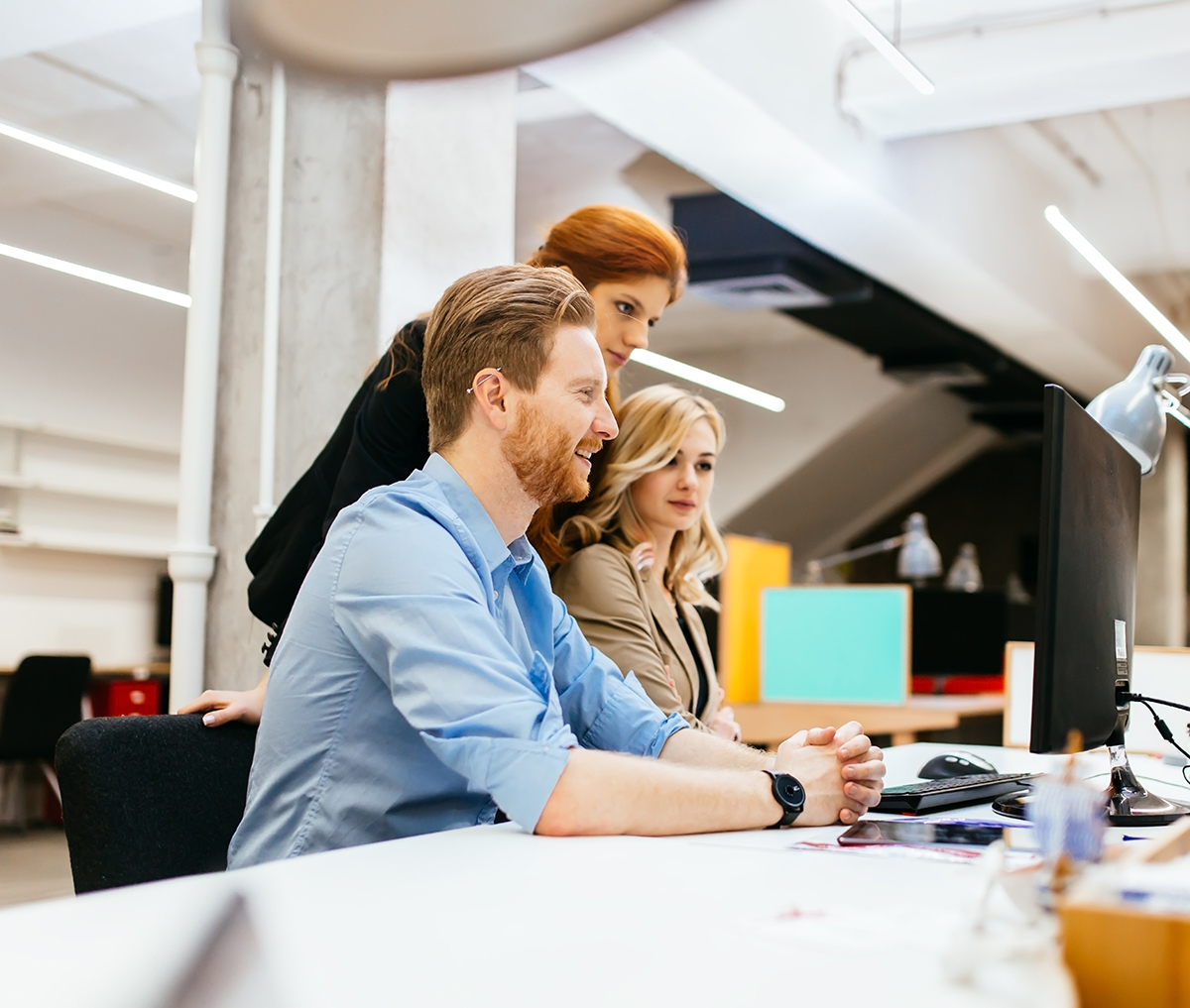 Business people collaborate in office